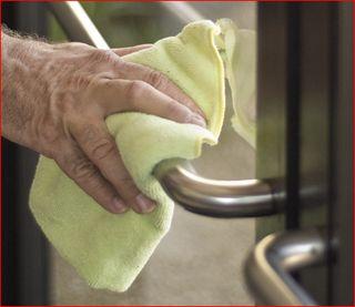 Disinfect push bars - not a bad idea