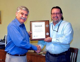 Yours truly and the ICE agent, and our IMAGE certificate.