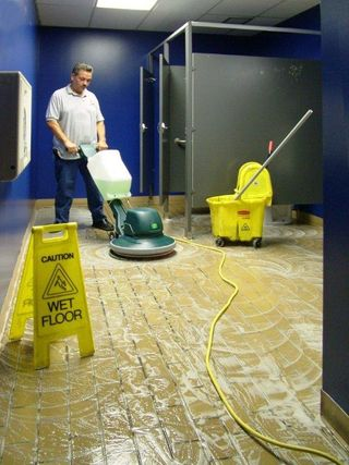 ceramic floor scrubbing