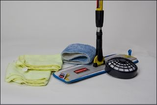 IAQ products: HEPA filter, microfiber mop and wipes.