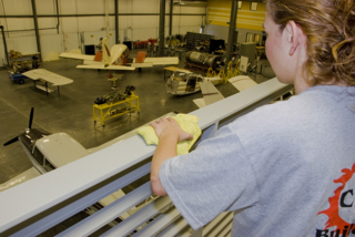 We clean an aircraft maintenance school