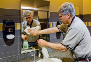 Restrom cleaning and disinfecting