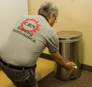 Sanitize lunchroom trash cans