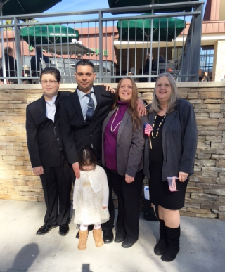 Becky's family, with the proud American citizen